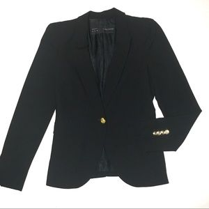 Zara Basic Black Blazer with Gold Buttons Small